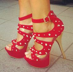 Glaring Suede Rivets Decoration Cut-Outs Platform High Heel Shoes