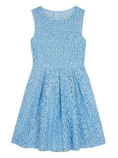 Girls Sequin Embellished Lace Dress