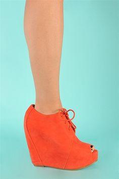 Open Toe Block Wedge - Coral