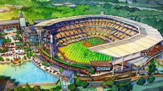 Artist rendering of new Braves ballpark to be built