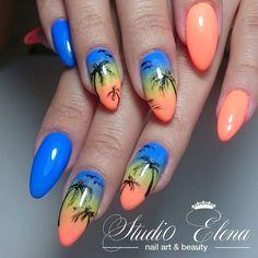 58 hottest beach nail ideas designs for summer bright summer acrylic nails, Beach Nail Designs, Diy Nail Designs, Short Nail Designs, Bright Summer Acrylic Nails, Cute Acrylic Nails, Gel Nail Art, Nail Summer, Summer Beach, Style Tropical