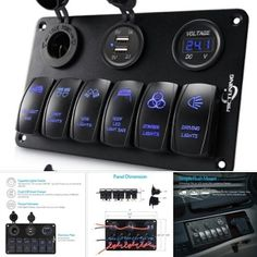 6 Gang rocker switch panel with dual USB charger LED digital voltmeter
