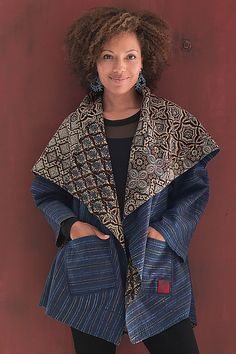 Ajrakh Circular Jacket by Mieko Mintz - Ajrakh Print, 1 (Woven Jacket) Quilted Clothes, Sewing Clothes, Jacket Pattern, Quilted Jacket, Refashion, Clothing Patterns, Beautiful Outfits, Mantel, Boho Fashion
