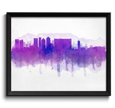 Blue Purple Cape Town Skyline South Africa Cityscape Art Print Cityscape Art, Print Poster, As You Like, Cape Town, Printing Services, South Africa, Watercolor Paintings, Purple, Blue