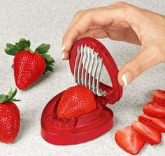 Genius. I love strawberries, but like them better sliced... makes it sooo much easier this way.