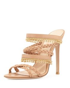 Braided Leather Sandal with Beaded Fringe, Soft Beige by Gianvito Rossi at Bergdorf Goodman.