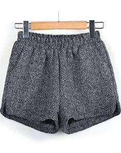 Grey Elastic Waist Tweed Shorts
