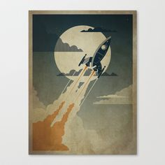 Night Launch Stretched Canvas by Danny Haas - $85.00