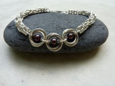 Purple Pearl and Silver Chainmaille Bracelet