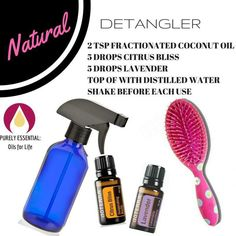 All natural hair detangler with essential oils! Works great and smells heavenly!