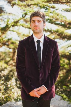 Groom Style - Burgundy Velvet Blazer. Photography: MrHaack.com - See the wedding here: http://www.StyleMePretty.com/2014/05/19/bohemian-glamour-in-northern-california/ #smp