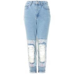 Topshop Petite Sequin Knee Mom Jeans (4.270 RUB) ❤ liked on Polyvore featuring jeans, bleach denim, sequin jeans, ripped jeans, embellish jeans, torn jeans and high waisted destroyed jeans