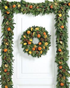 evergreen orange wreath garland williams sonoma williamsburg christmas colonial williamsburg holiday - Williamsburg Decorated For Christmas