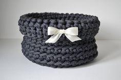 Dark gray basket, handmade basket, rope crochet basket, storage basket, home decor by iKNITSTORE on Etsy Storage Baskets, Crocs, House Warming, Gifts, Handmade, Favors, Craft, Presents, Gift