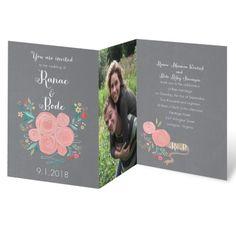 Retro Roses Wedding Invitation   Z-fold at Invitations By Dawn