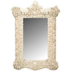 20th c. Venetian Grotto Style Seashell Mirror | From a unique collection of antique and modern wall mirrors at https://www.1stdibs.com/furniture/mirrors/wall-mirrors/