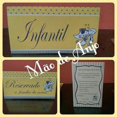 Papelaria personalizada (placa para banheiro, placa reservado e placa de agradecimento para os convidados), by Mão de Anjo.