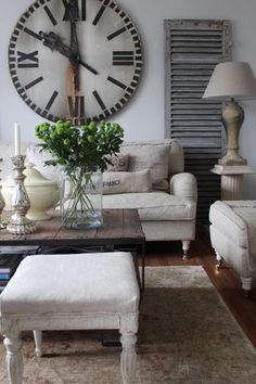 living room with vintage clock