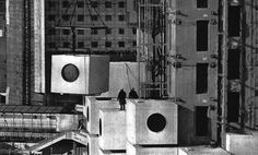 "avisionfrom: "" Kurokawa's Capsules, Symbolic building of the Metabolism Movement. Nakagin Capsule Tower, Tokyo, Japan """