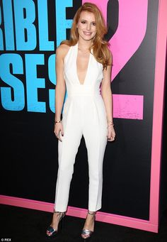 Stunning: Bella Thorne dazzled in a white jumpsuit as she attended the Horrible Bosses 2 premiere in Los Angeles, California on Thursday