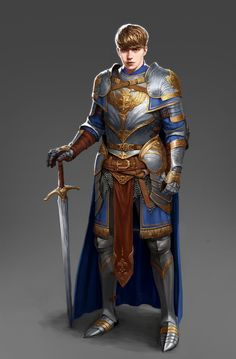 Knight by Jieun Kim on ArtStation. Fantasy Male, Fantasy Armor, Medieval Fantasy, Dnd Characters, Fantasy Characters, Game Character, Character Design, Dungeons And Dragons Classes, Combat Suit
