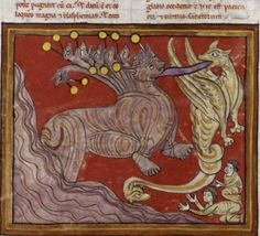 Bibliothèque nationale de France, Nouvelle acquisition latine 1366, f. 106v (adoration of the beast). Beatus of Liebana, Commentarius in apocalypsin. Spain, end of the 12th century.