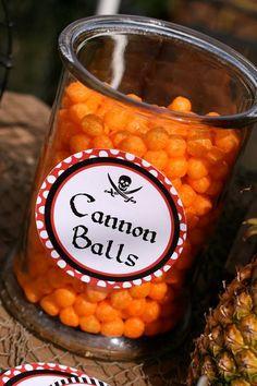 Cheese puffs as Cannon Balls! Cute Pirate Third Birthday Party via Kara's Party Ideas KarasPartyIdeas.com