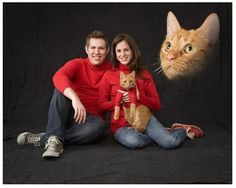 ANOTHER floating cat head Cat Family Photo with matching turtlenecks