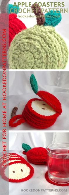 Apple Coaster Crochet Pattern - Sliced Apple Coaster Set, A cute set of 6 coasters in an apple shaped holder.