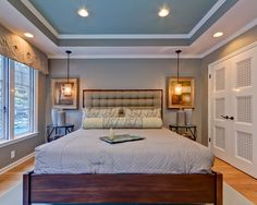 Trey Ceiling Home Design Ideas, Pictures, Remodel and Décor  gray walls blue trey ceiling