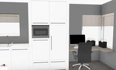 Moderne design keuken hoogglans met werkplek in 3D | ontwerp: Monique van Koppenhagen | kleuren: eiland donkergrijs hoogglans, keukenblok wit hoogglans | werkblad: composiet Ultra White gepolijst, werkplek voorzien van eiken houten blad | #styling #interieurstyling #interieurbouw #interieur #designkeuken #3D #composiet #hoogglans #kookeiland #maatwerk #kantoorkast #bureau #kantoor #keukenmetwerkplek #kantooraanhuis