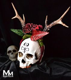Animalfriendly Antlers headpiece with faux red roses by MortiisM, £39.99