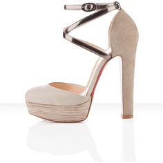 Christian Louboutin La Favorita 140mm ($965) ❤ liked on Polyvore featuring shoes, heels, chaussure, scarpe, chunky heel platform shoes, famous footwear, strappy shoes, linen shoes and high heel platform shoes