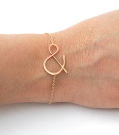 ampersand rose gold bracelet by makepienotwar on Etsy, $33.00