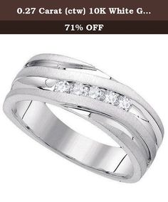 0.27 Carat (ctw) 10K White Gold Round Cut Diamond Men's Fashion 5 Stone Wedding Band 1/4 CT. This lovely diamond ring feature 0.27 ct white diamonds in Channel setting. All diamonds are sparkling and 100% natural. All our products with FREE gift box and 100% Satisfaction guarantee. SKU # GD85689.