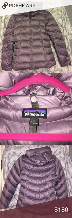 Patagonia Downtown Loft Jacket With modern style lines, this 600-fill-power hooded duck down jacket has a satin polyester shell with a DWR (durable water repellent) finish and is insulated with Traceable Down. packable hood to create a cozy, cute funnel neck. Zippered pockets. Slim fit. Gorgeous Rustic Purple color which looks to me like a mix of lavender and gray. New without tags. Patagonia Jackets & Coats Puffers