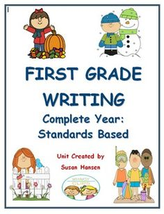 This first grade writing unit contains a complete year of standards based lessons. It includes a basic outline for twelve months of directed teaching. There are 48 lessons with a page of directions for each.  Narrative, informative, and opinion writing templates, as well as poem and letter writing forms are also included.