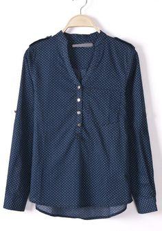 ++ Blue Polka Dot Print Long Sleeve Chiffon Blouse