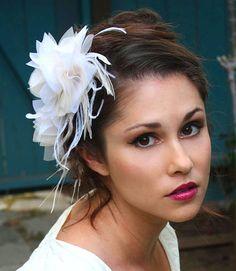 White, Ivory, Champagne, Blush Bridal Headpiece, Wedding Hair Clips, Flower Hair Clips, Fascinator, Bridal Hair Accessories - MOLLY PAIR