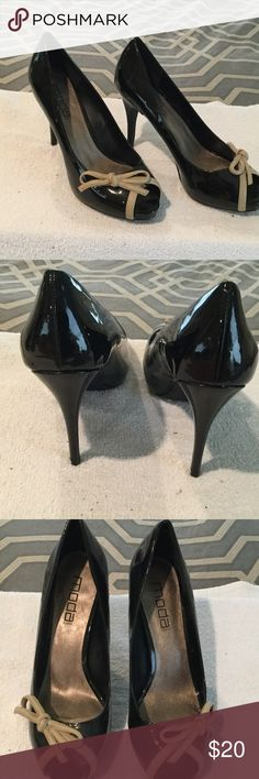 "NWOT patent leather heels Black patent faux leather peep toe heels with beige ribbon detail. Never worn. 4 1/2"" heels MODA Shoes Heels"