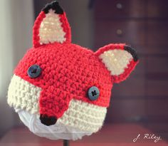 A baby fox hat for inspiration. No pattern link.