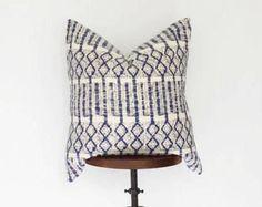 22x22 Indigo Batik Hmong Pillow Cover, Boho Pillow, Nursery Decor, Boho Decor, Bohemian Pillow, Blue and Cream, Hand Loomed, Multiple Sizes
