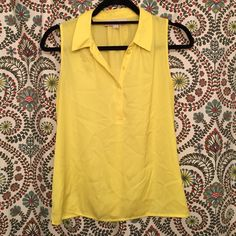 LOFT Blouse NWOT LOFT yellow shell!! Never worn, perfect condition!! Collared, button detail at top!! Size small petite LOFT Tops Blouses