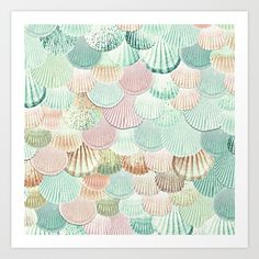 Photography of gitter shells in lovely pastel mint & rosegold pink. <br/> ORIGINAL ARTWORK by MONIKA STRIGEL®<br/> It is prohibited to imitate, copy or fake up the idea or  the design. Don`t use without permission or licence. <br/> Published© June 12, 2017