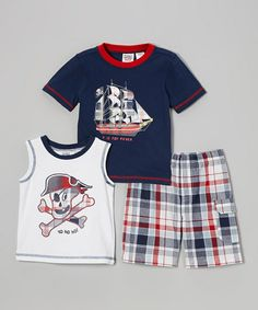 Red & White Pirate Tee Set - Infant, Toddler & Boys