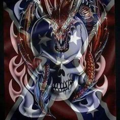 Rebel Flag Tattoos, Patriotic Tattoos, Jeep Tattoo, Country Girl Life, Patriotic Pictures, Skull Artwork, Skull Painting, Southern Pride, Southern Style