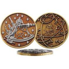 Sextant Geocoin Antik Bronze/Silber