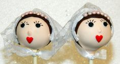 Handsome groom in his snazzy bow tie and beautiful bride with her full, red lips and delicate lace veil are the perfect addition to any bridal shower or wedding reception! You'll get a dozen cake pops -- 1 bride, 1 groom, and 10 elegant white pops -- all individually wrapped and ready to share!  Available in a variety of hair colors and cake flavors, they are sure to be a hit at your celebration!
