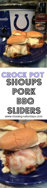 Crock Pot Shoups Pork BBQ Sliders, easy meal, colts, slow cooker, Chasing Saturday's, motzzerella cheese, slider buns, fast meal, pulled pork