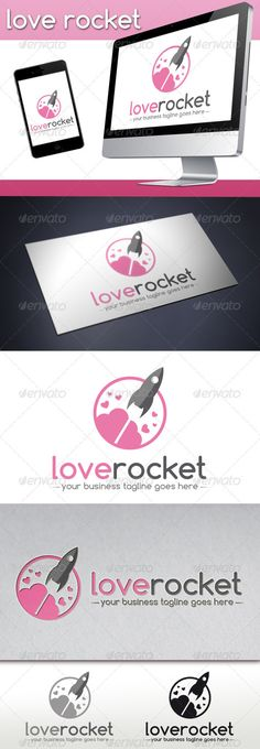 Love Rocket Logo Template — Vector EPS #science #video • Available here → https://graphicriver.net/item/love-rocket-logo-template/3743486?ref=pxcr